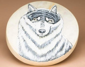 Hand painted Tarahumara Indian rawhide hoop drum.
