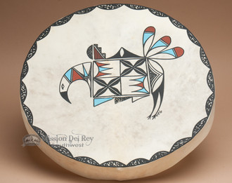 Hand painted Tarahumara Indian rawhide hoop drum.