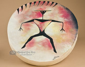 Hand painted Tarahumara hoop drum.