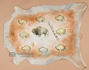 Southwestern Painted Goat Hide - Cave Art Buffalo