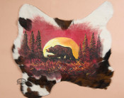 Painted Cow Hide - Moonlit Bear