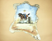 Painted Cowhide for Western Decor - Barrel Rider