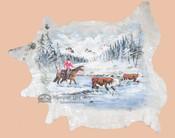 Large Painted Cowhide - Winter Snow