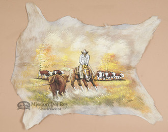 """Western Painted Hair On Hide 29.5""""x25"""" - Cow Puncher"""