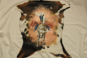 Painted Genuine Goat Hide - Bull Rider