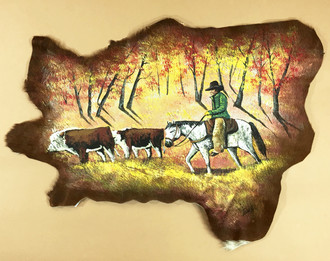 Painted Cowhide - Cowboy Round-Up