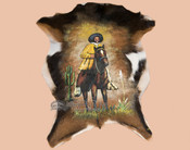 Hand Painted Goat Hide Wall Decor - Pancho Villa