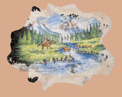 Hand Painted Large Cowhide - Western Scene