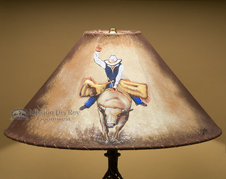 Painted Leather Lamp Shade 20 Quot Bull Rider Pl103