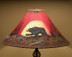 """Painted Leather Lamp Shade 22"""" -Moon Lit Bear"""