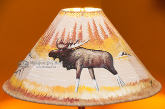 "20"" Painted Leather Lamp Shade -Moose"