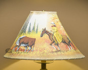 "16"" Painted Leather Lamp Shade -Cowboy"