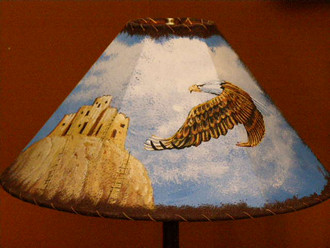 "20"" Painted Leather Lamp Shade - Eagle/Pueblo"