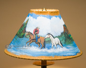 """14"""" Painted Leather Lamp Shade - Cowboy & Horse"""