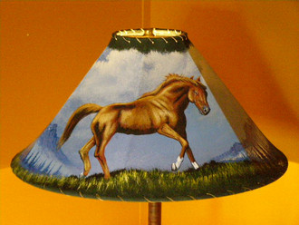 """20"""" Painted Leather Lamp Shade -Chestnut Pony"""