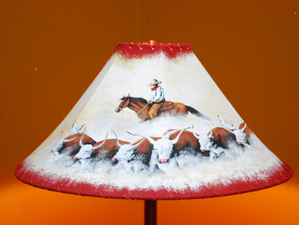 "20"" Painted Leather Lamp Shade -Cattle Drive"