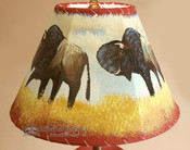 "Painted Leather Lamp Shade - 12"" -Grazing Buffalo"