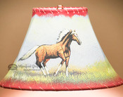 "Painted Leather Lamp Shade - 12"" -Mustang"