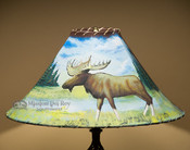 Lodge painted leather lampshade - Moose.