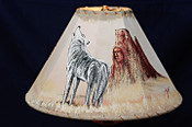 "Southwest Decor Leather Lamp Shade 15"" -Wolf"