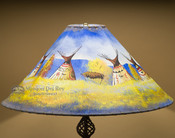 "Painted Leather Lamp Shade 24"" -Indian Village"