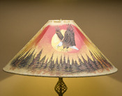 "Painted Leather Lamp Shade 24"" -Sunset Eagle"