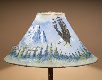 "Painted Leather Lamp Shade 18"" -Eagle (PL93)"