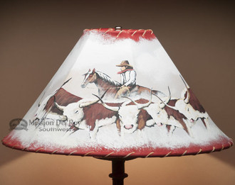 Painted lampshade - Cattledrive 18""