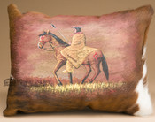 Painted Cowhide Pillow -Indian