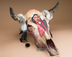 Painted Steer Skull - Brave
