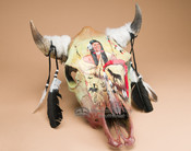 Painted steer skull - Warrior