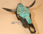 Painted Black Steer Skull with Turquoise Overlay