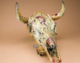 Hand Painted Crackled Skull - Kokopelli