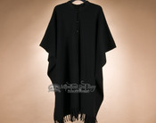 Southwestern Button Down Wool Cape -Black (c20)