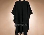 Southwestern Button Down Wool Cape -Black (c20)
