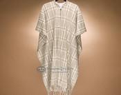 Southwestern Buttoned Wool Cape -Plaid (c8)