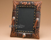 Tooled Western Horses Picture Frame