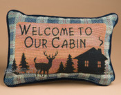 "Rustic Cabin Pillow 12.5""x8.5"" -Welcome"