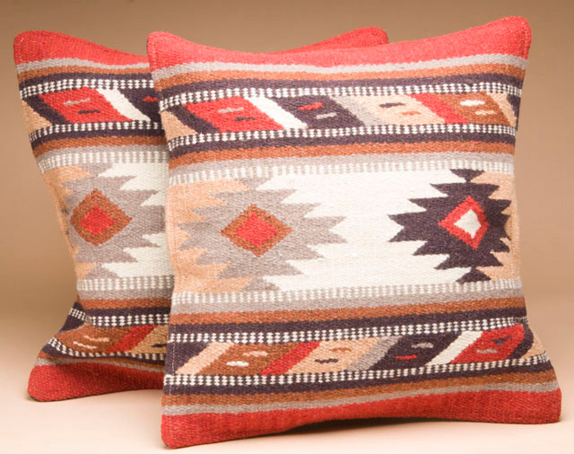 Southwestern Wool Pillow Covers : Pair Southwest Wool Pillow Covers 18x18 -Hopi Pattern - Mission Del Rey Southwest