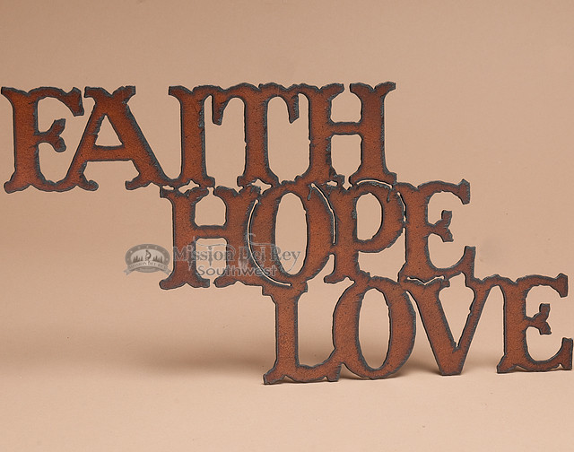 Rustic love wall decor : Rustic metal art wall plaque faith hope love p