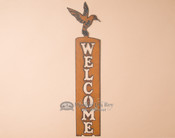 Rustic Metal Welcome Sign-Hummingbird
