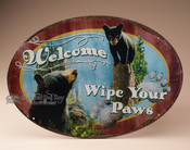 "Metal Art Welcome Sign - Bear ""Wipe Your Paws"""