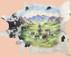 Large Painted Cowhide - Cowboy Scene
