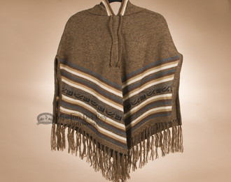 Alpaca Hooded Poncho - Brown