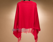Classic Knitted Alpaca Poncho -Red (p27)