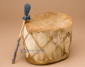 Native Aspen log drum with dark leather hide
