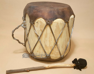 Rawhide Log Drum, rustic, with striker