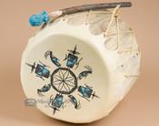 Pueblo Indian Hand Painted Log Drum