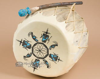 Pueblo Indian Hand Painted Log Drum