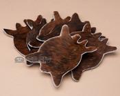 Genuine Cowhide 6 piece set of Coasters - Brindle